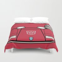 transformers Duvet Covers featuring Transformers - Sideswipe by CaptainLaserBeam