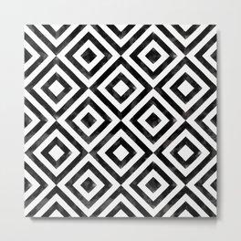 Black and white watercolor diamond pattern Metal Print
