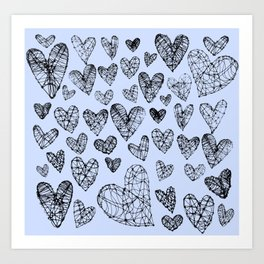 Wire Hearts in Soft Blue Art Print