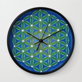 Flower of Life- Ocean Colours Wall Clock