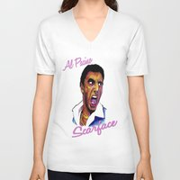 scarface V-neck T-shirts featuring Scarface by AdrockHoward