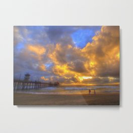 El Niño Sunset Huntington Beach Pier Metal Print