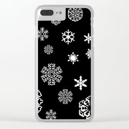 Modern black white hand painted snow flakes Clear iPhone Case