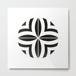 Armenian Rosette Black & White by Ania Mardrosyan Metal Print