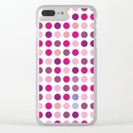 Purple pink polka dots Clear iPhone Case