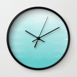 Modern teal watercolor gradient ombre brushstrokes pattern Wall Clock