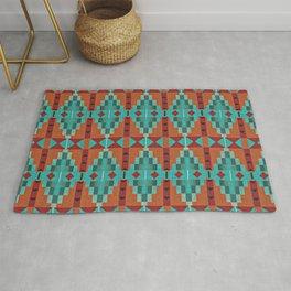 Orange Red Aqua Turquoise Teal Native Mosaic Pattern Rug
