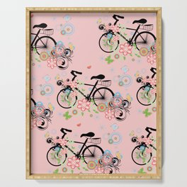 Bicycle and Colorful Floral Ornament Serving Tray