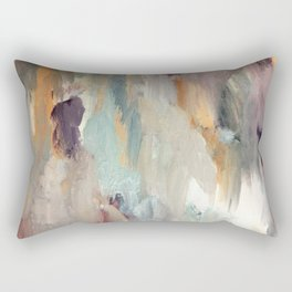 Gentle Beauty [4] - an elegant acrylic piece in deep purple, red, gold, and white Rectangular Pillow