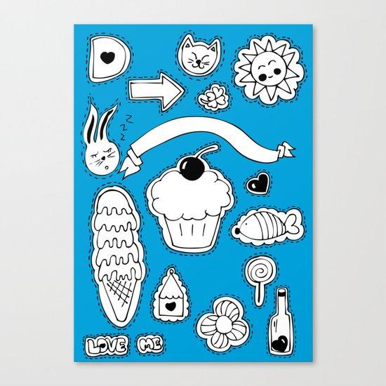 Sticker World Canvas Print