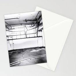 underground parking lot with tube in black and white Stationery Cards
