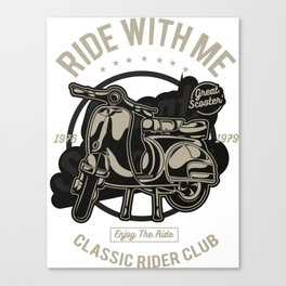 Ride With Me - Classic, Vintage, Motocross, Motobike Rider Canvas Print