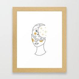 Crescent Moon Girl Framed Art Print