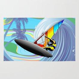 Windsurfer on Ocean Waves Rug