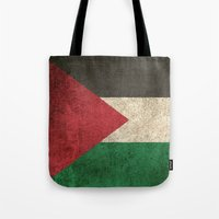 palestine Tote Bags featuring Old and Worn Distressed Vintage Flag of Palestine by Jeff Bartels