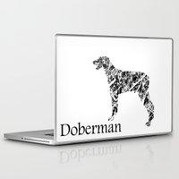 doberman Laptop & iPad Skins featuring Doberman Scribble by Jake Stanton