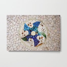Spiral Mosaic Tiles by Gaudi in Parc Guell Barcelona Metal Print