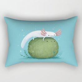 Axolotl on a Mossball Rectangular Pillow