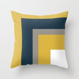Half Frame Minimalist Pattern in Deep Mustard Yellow, Navy Blue, Gray, and White Throw Pillow