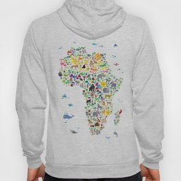 Animal Map of Africa for children and kids Hoody