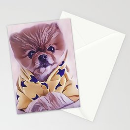 Pomeranian Wearing Pajamas Stationery Cards
