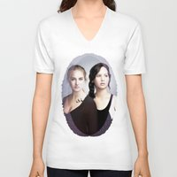 divergent V-neck T-shirts featuring The Divergent Games by Clara J Aira