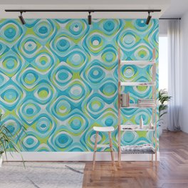 Elegant Abstract in Teal and Green Wall Mural