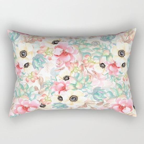 Yellow flowers. Watercolor Rectangular Pillow