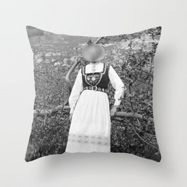 Miss Onion by the bushes. 1915. Throw Pillow
