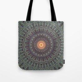 Sun Circle Bohemian Geometric Thread Weave Pattern Original \\ Yellow Gray Blue Purple Color Scheme Tote Bag