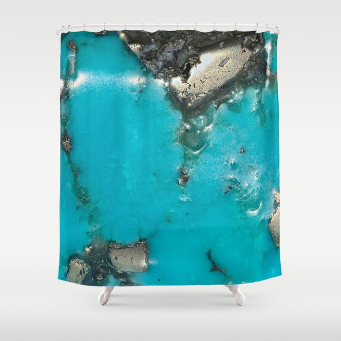 Turquoise With Gold Veining And Deposits Shower Curtain