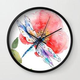 Dragonfly on a flower I Wall Clock
