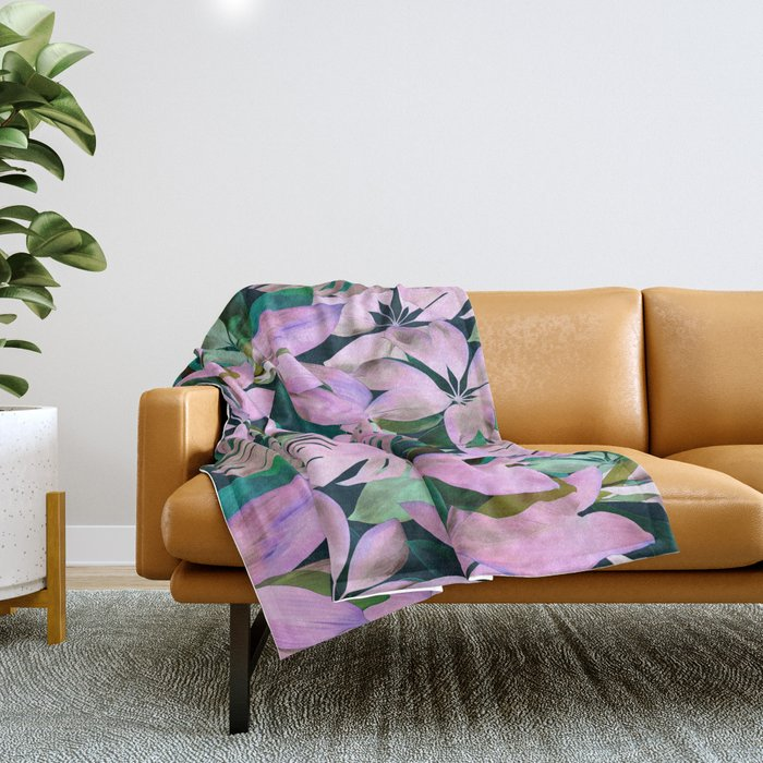 Tropical Night Magenta & Emerald Jungle Throw Blanket