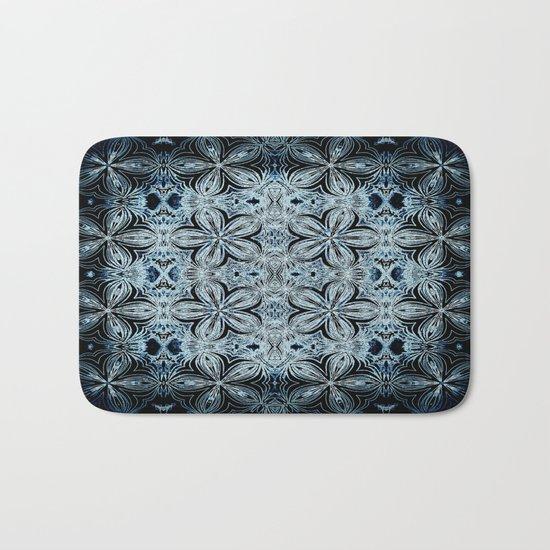 Blue & Black Etched Delicate Flowers Bath Mat