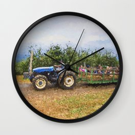 Hayride At The Apple Orchard Wall Clock