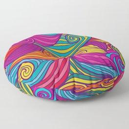 Vivid Whimsical Jewel Tone Retro Wave Print Pattern Floor Pillow