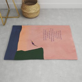 Dive All In Woman Cliff Jumping with Pink Horizon Illustration Rug