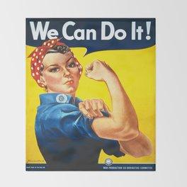 Vintage poster - Rosie the Riveter Throw Blanket