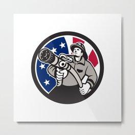 American Fireman USA Flag Icon Metal Print