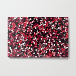 Pixel Grid Abstract Pattern Metal Print