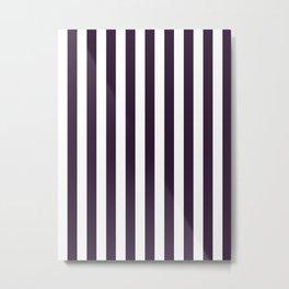 Narrow Vertical Stripes - White and Dark Purple Metal Print