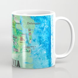 USA Virginia State Travel Poster Map with Touristic Highlights Coffee Mug