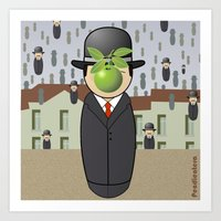 magritte Art Prints featuring Kokeshi Magritte by Pendientera
