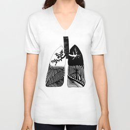 Particle Filtration - Lungs - Respiratory System Unisex V-Neck