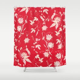 Festive Christmas Bright Red Passion Flowers Shower Curtain