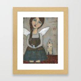 Home for the Holidays, Mixed Media Folk Art Girl by Kimberly Schulz Framed Art Print