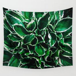 Hosta undulata albomarginata vibrant green plant leaves Wall Tapestry