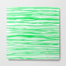 Apple Green and White Stripes Abstract Metal Print
