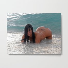9284-SS Beautiful Wet Naked Woman Nude Beach Sand Surf Big Breasts Long Black Hair Sexy Erotic Art Metal Print