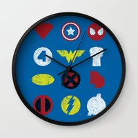 super heroes Wall Clocks featuring Super Simple Heroes by Resistance